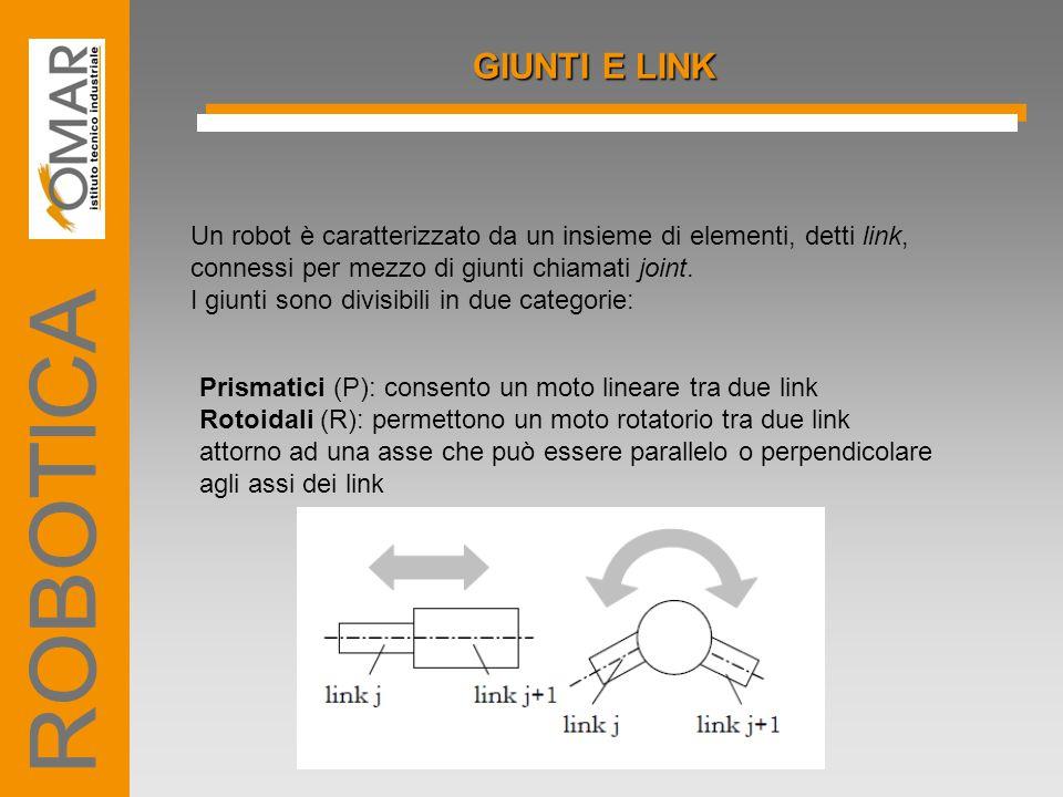 GIUNTI E LINK Un robot è caratterizzato da un insieme di elementi, detti link, connessi per mezzo di giunti chiamati joint.