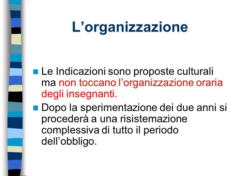 L'organizzazione Le Indicazioni sono proposte culturali ma non toccano l'organizzazione oraria degli insegnanti.