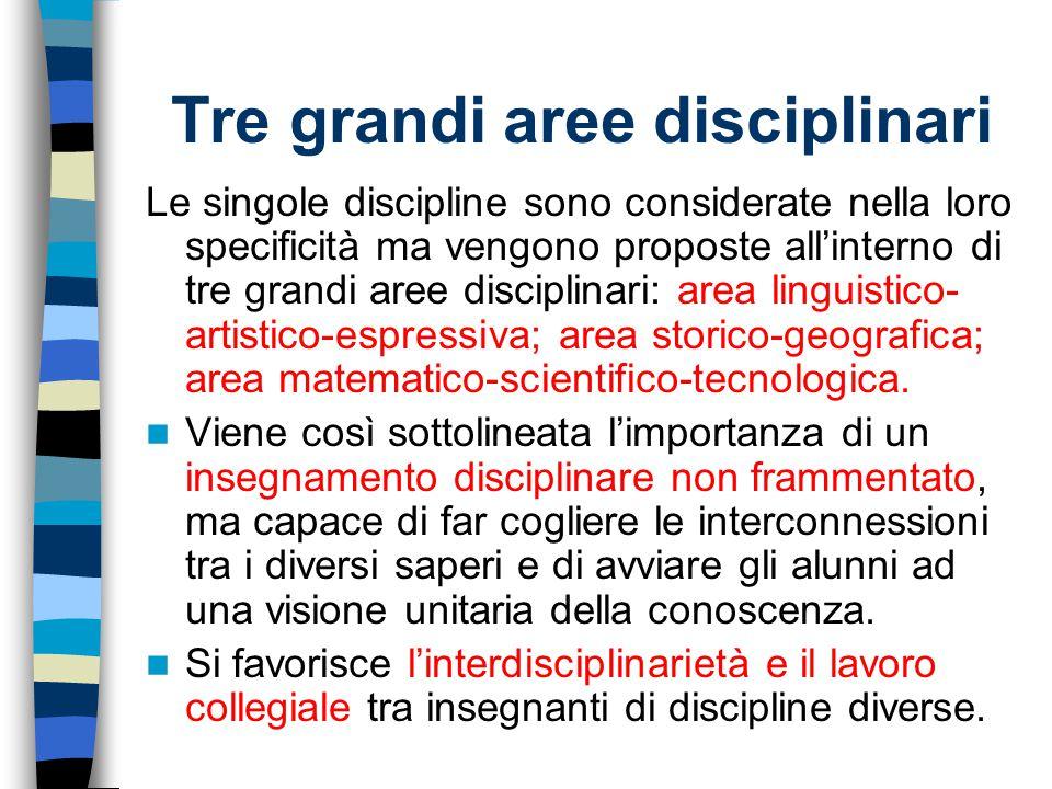 Tre grandi aree disciplinari