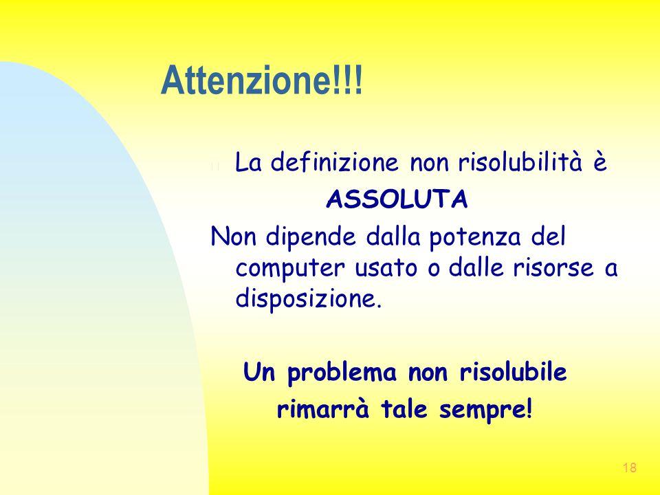 Attenzione!!! La definizione non risolubilità è ASSOLUTA