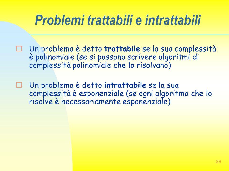 Problemi trattabili e intrattabili