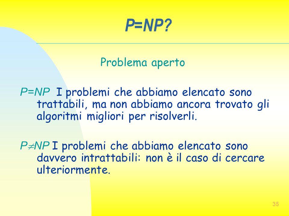 P=NP Problema aperto. P=NP I problemi che abbiamo elencato sono trattabili, ma non abbiamo ancora trovato gli algoritmi migliori per risolverli.
