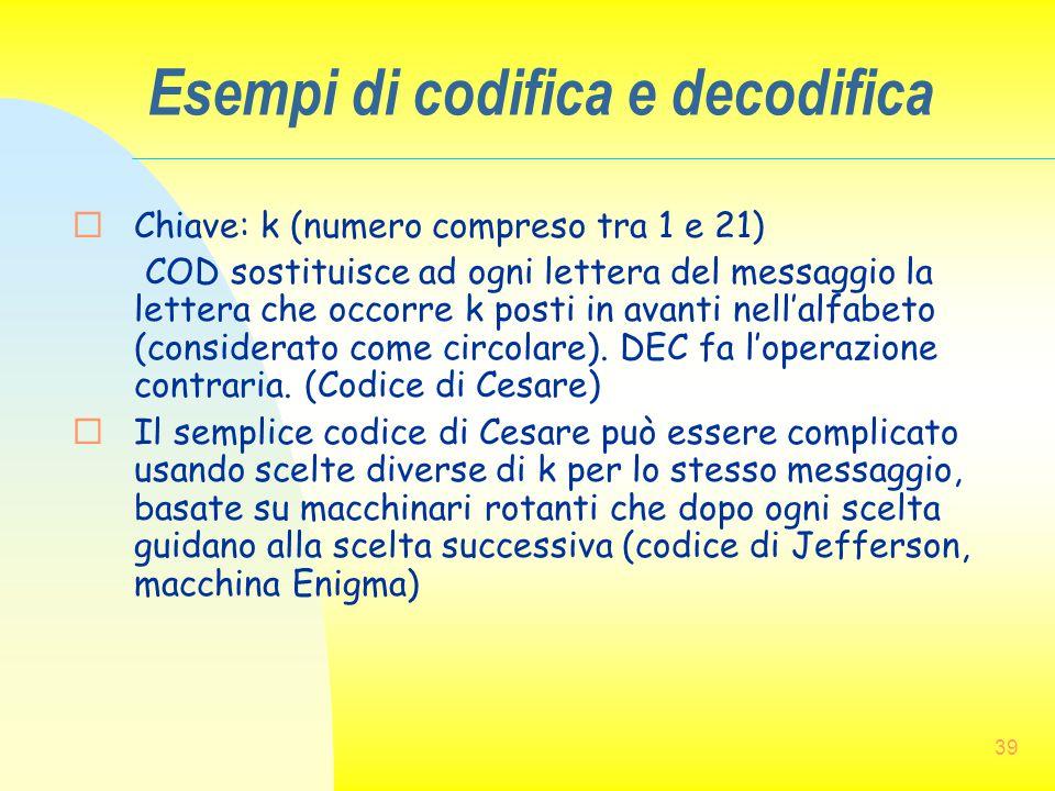 Esempi di codifica e decodifica