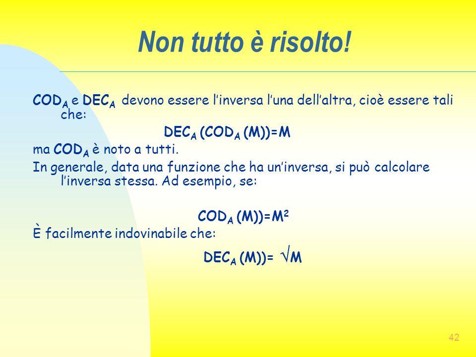 Non tutto è risolto! CODA e DECA devono essere l'inversa l'una dell'altra, cioè essere tali che: DECA (CODA (M))=M.