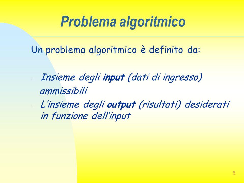 Problema algoritmico Un problema algoritmico è definito da: