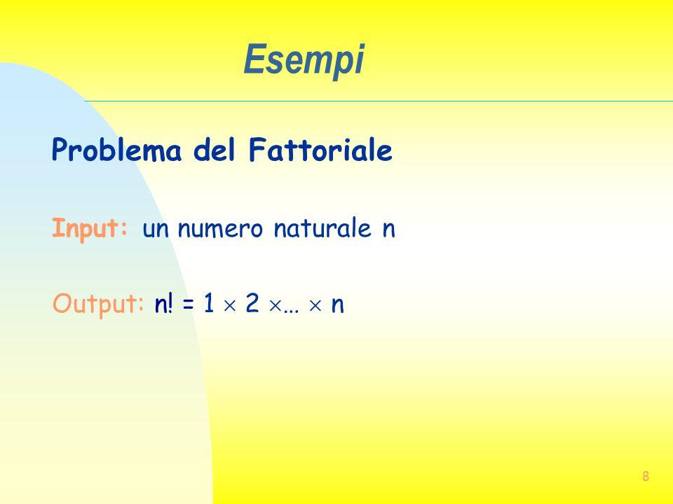 Esempi Problema del Fattoriale Input: un numero naturale n