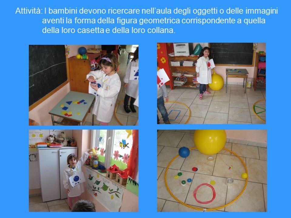 Attività: I bambini devono ricercare nell'aula degli oggetti o delle immagini aventi la forma della figura geometrica corrispondente a quella della loro casetta e della loro collana.