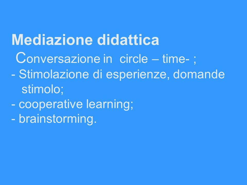 Mediazione didattica Conversazione in circle – time- ; - Stimolazione di esperienze, domande stimolo; - cooperative learning; - brainstorming.