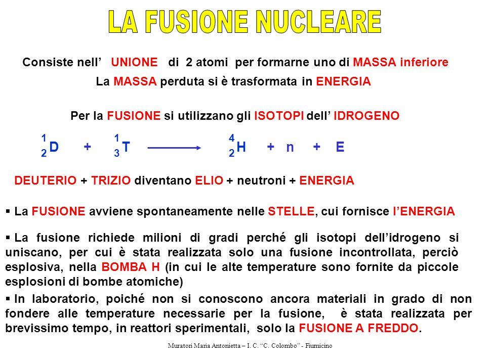LA FUSIONE NUCLEARE D + T H + n + E