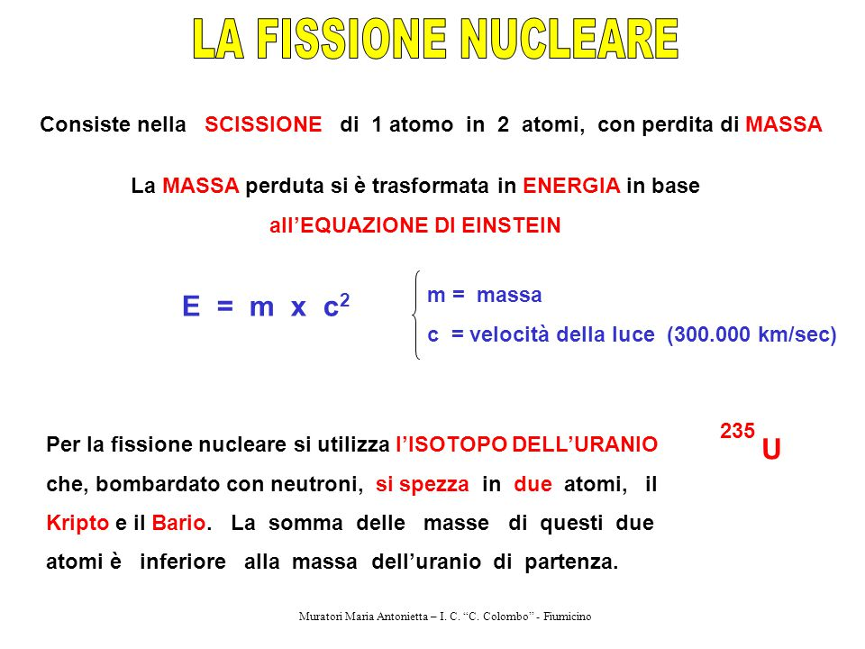 LA FISSIONE NUCLEARE E = m x c2 U