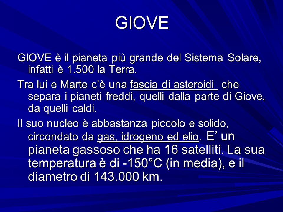 GIOVE GIOVE è il pianeta più grande del Sistema Solare, infatti è 1.500 la Terra.