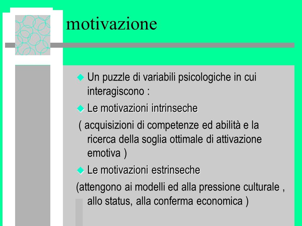 motivazione Un puzzle di variabili psicologiche in cui interagiscono :