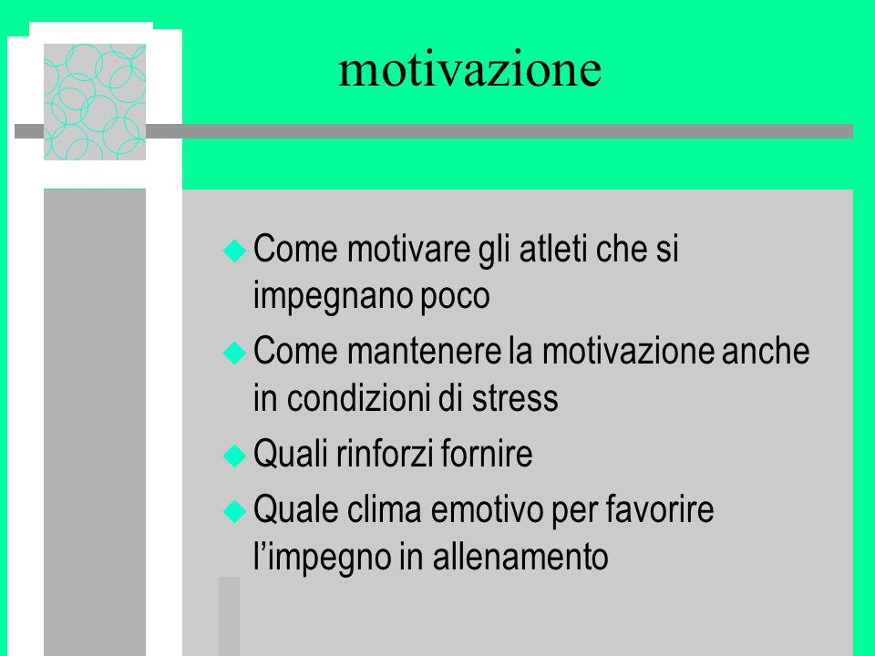 motivazione Come motivare gli atleti che si impegnano poco