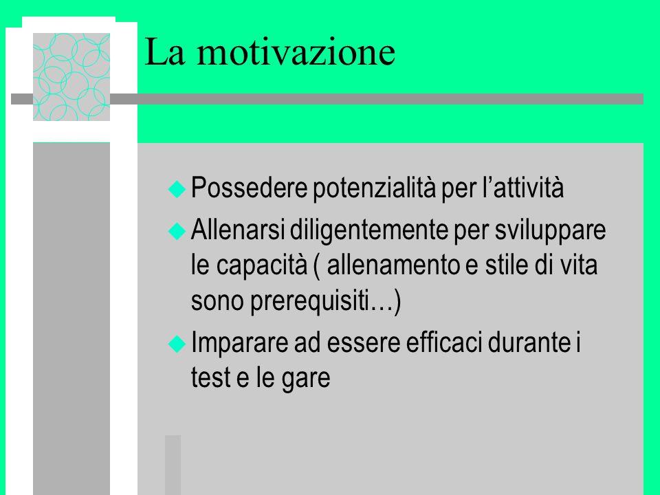 La motivazione Possedere potenzialità per l'attività