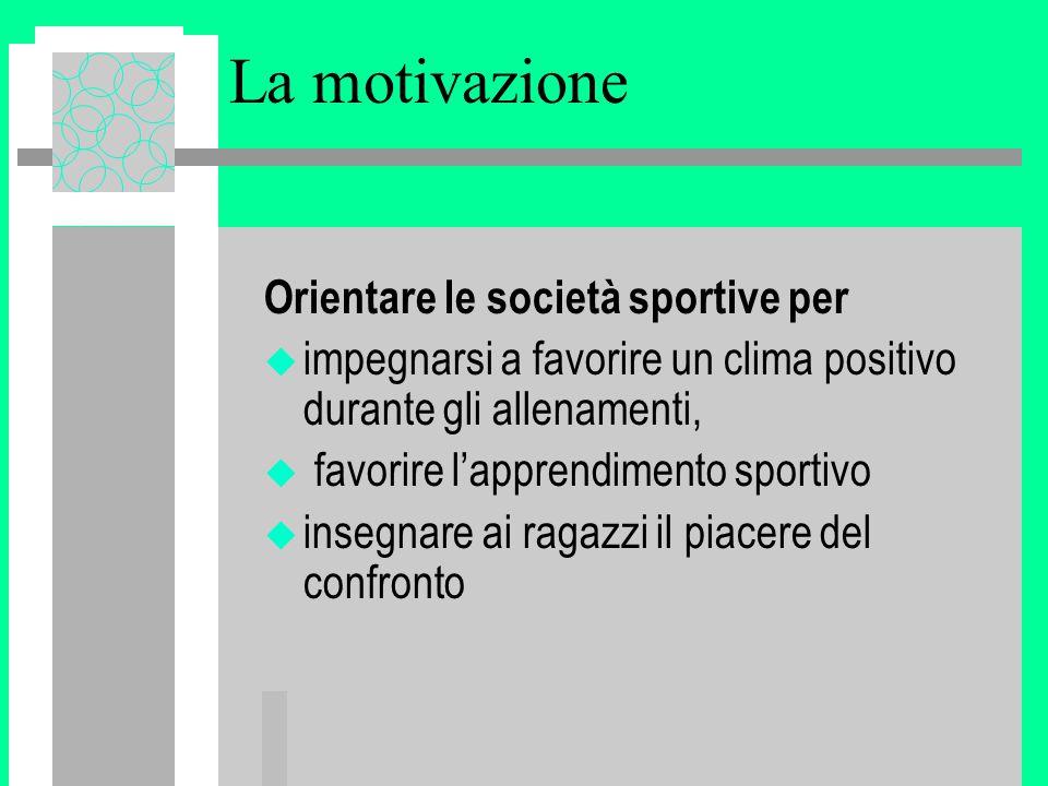 La motivazione Orientare le società sportive per