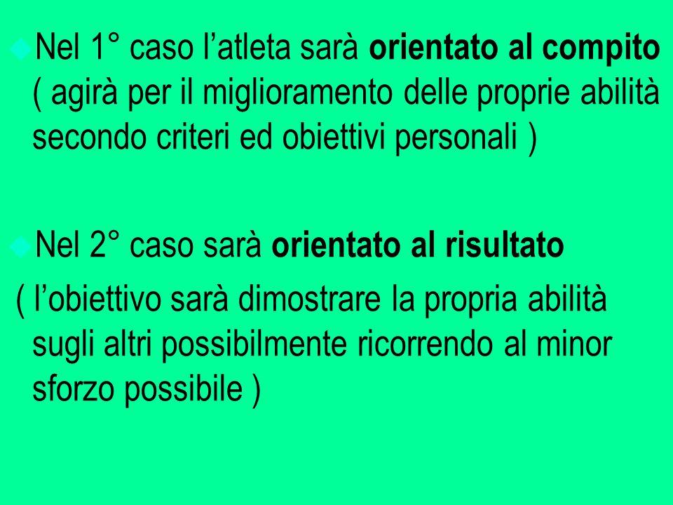 Nel 1° caso l'atleta sarà orientato al compito ( agirà per il miglioramento delle proprie abilità secondo criteri ed obiettivi personali )