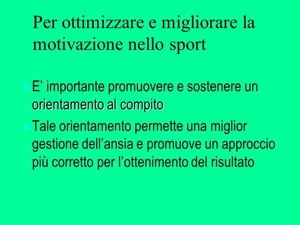 Per ottimizzare e migliorare la motivazione nello sport