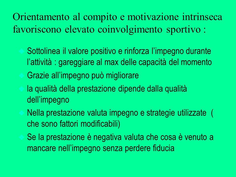 Orientamento al compito e motivazione intrinseca favoriscono elevato coinvolgimento sportivo :