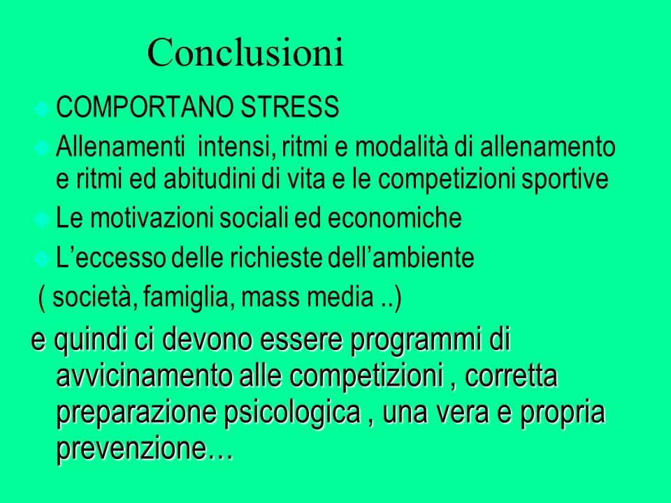 Conclusioni COMPORTANO STRESS. Allenamenti intensi, ritmi e modalità di allenamento e ritmi ed abitudini di vita e le competizioni sportive.