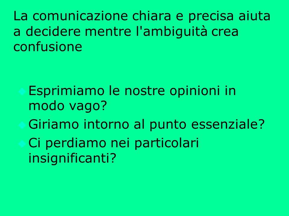 La comunicazione chiara e precisa aiuta a decidere mentre l ambiguità crea confusione