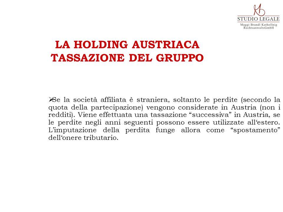 LA HOLDING AUSTRIACA TASSAZIONE DEL GRUPPO