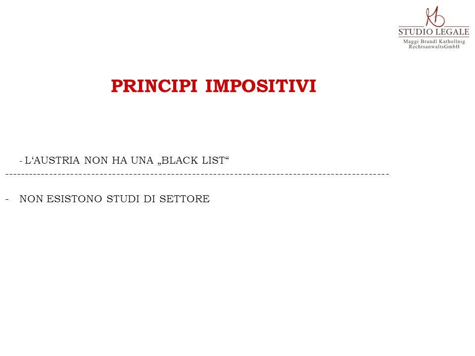 """PRINCIPI IMPOSITIVI - L'AUSTRIA NON HA UNA """"BLACK LIST"""