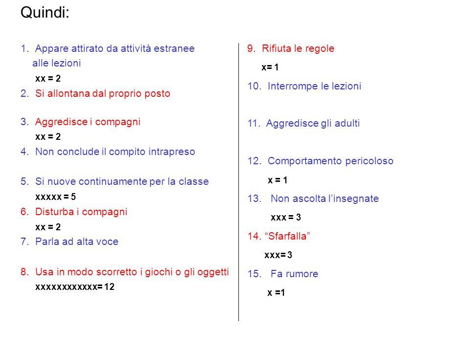 Quindi: 1. Appare attirato da attività estranee alle lezioni xx = 2
