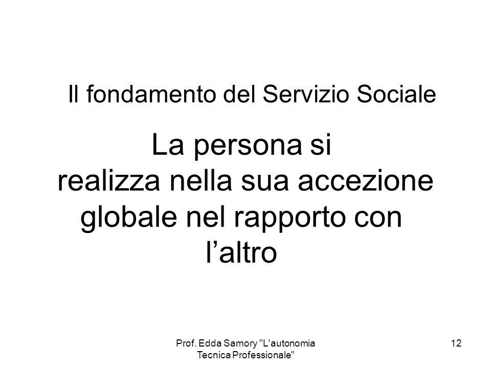 Il fondamento del Servizio Sociale