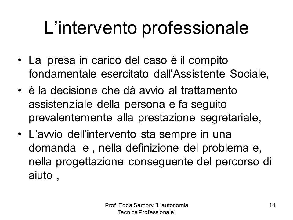 L'intervento professionale