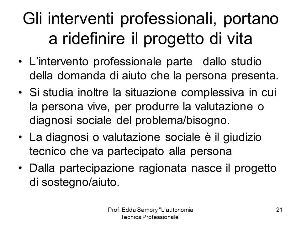 Gli interventi professionali, portano a ridefinire il progetto di vita