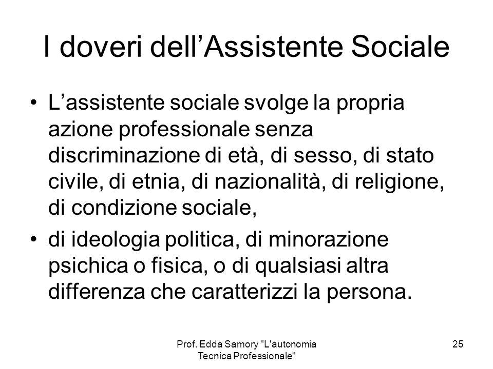 I doveri dell'Assistente Sociale