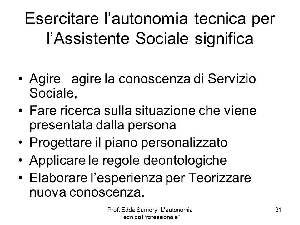 Esercitare l'autonomia tecnica per l'Assistente Sociale significa