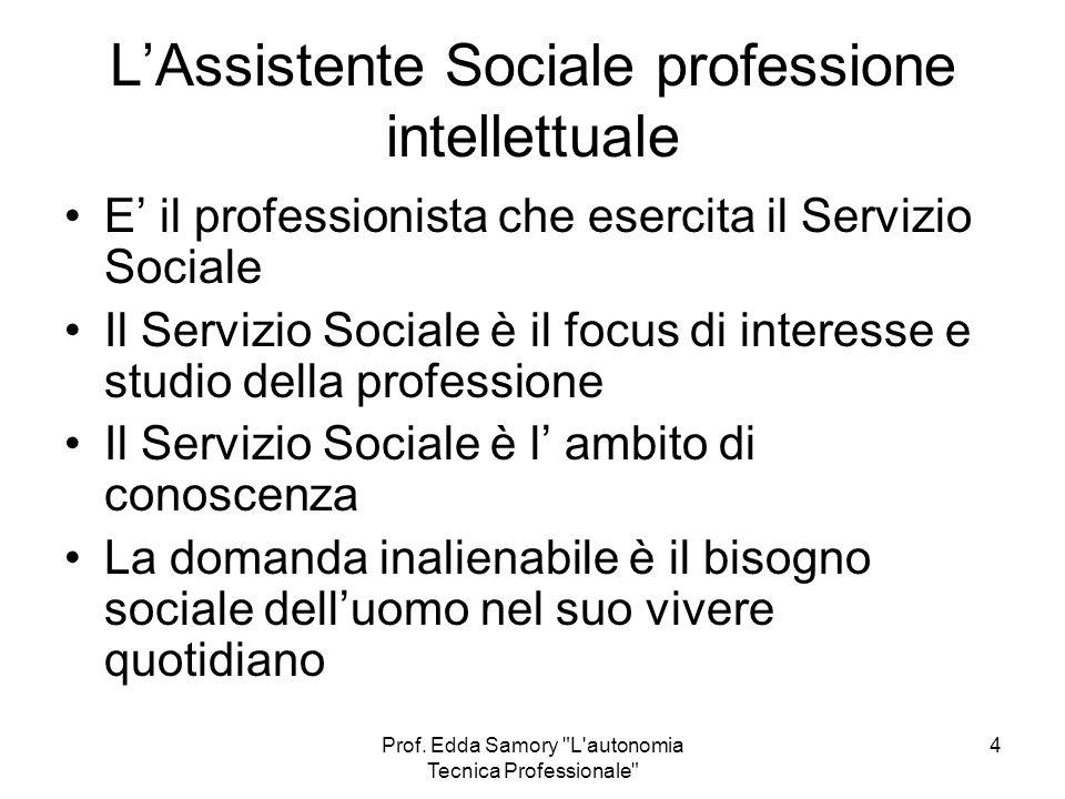 L'Assistente Sociale professione intellettuale