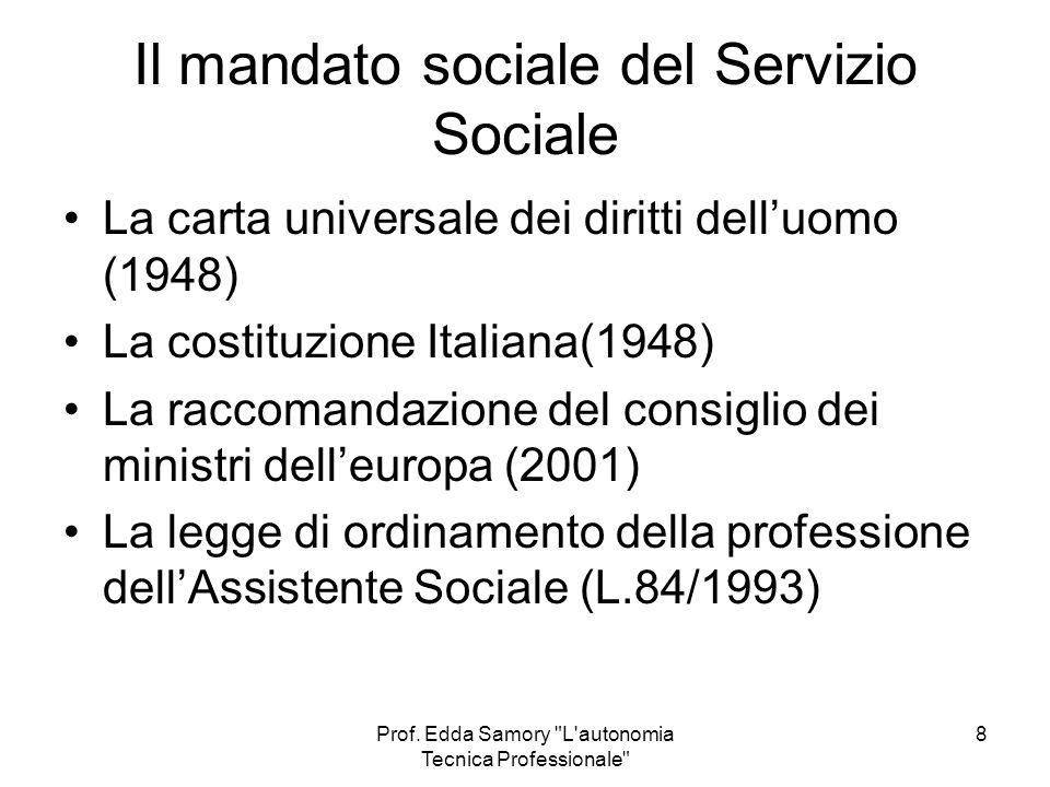 Il mandato sociale del Servizio Sociale