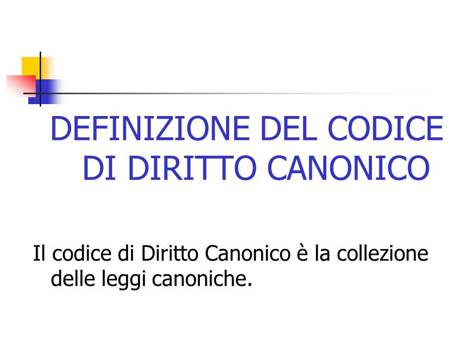 DEFINIZIONE DEL CODICE DI DIRITTO CANONICO