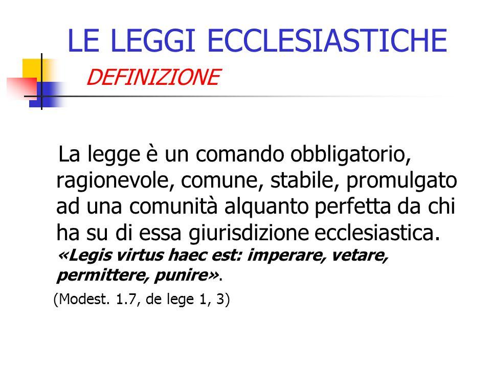 LE LEGGI ECCLESIASTICHE
