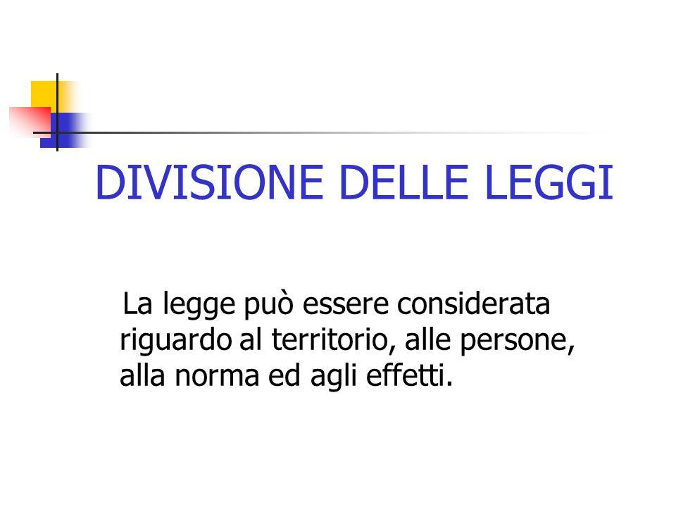 DIVISIONE DELLE LEGGI La legge può essere considerata riguardo al territorio, alle persone, alla norma ed agli effetti.