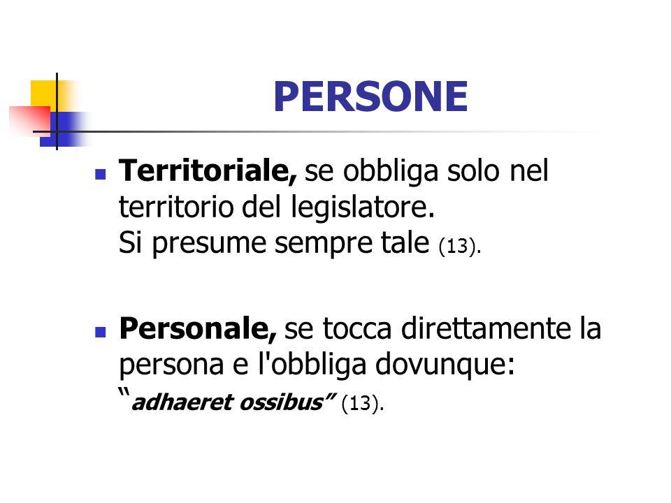 PERSONE Territoriale, se obbliga solo nel territorio del legislatore. Si presume sempre tale (13).