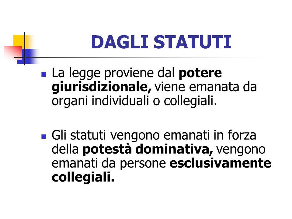 DAGLI STATUTI La legge proviene dal potere giurisdizionale, viene emanata da organi individuali o collegiali.