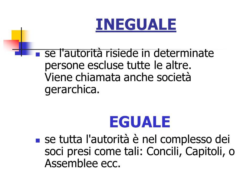INEGUALE se l autorità risiede in determinate persone escluse tutte le altre. Viene chiamata anche società gerarchica.