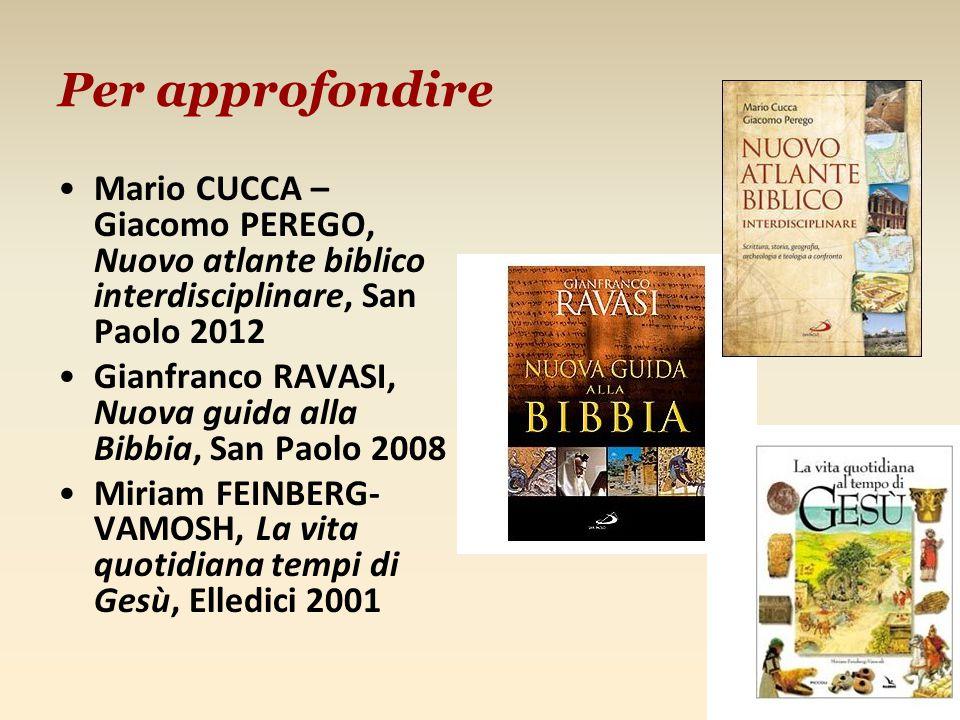 Per approfondire Mario CUCCA – Giacomo PEREGO, Nuovo atlante biblico interdisciplinare, San Paolo 2012.