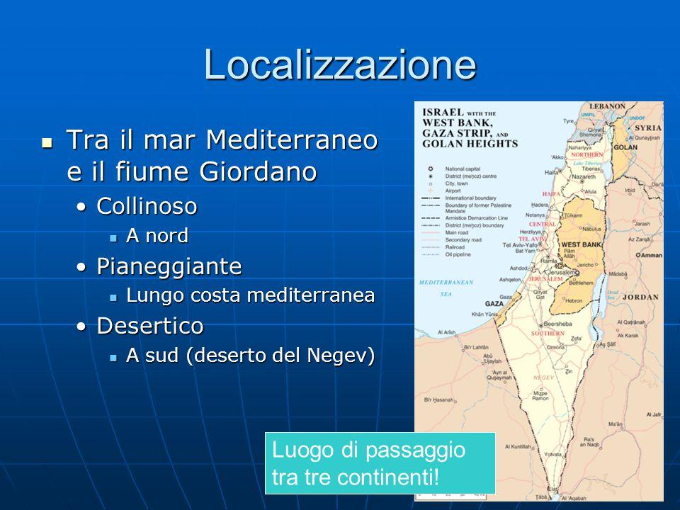 Localizzazione Tra il mar Mediterraneo e il fiume Giordano Collinoso
