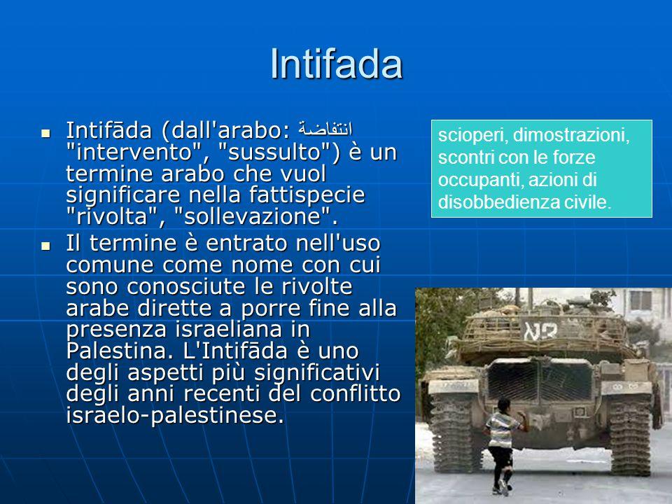 Intifada Intifāda (dall arabo: انتفاضة intervento , sussulto ) è un termine arabo che vuol significare nella fattispecie rivolta , sollevazione .