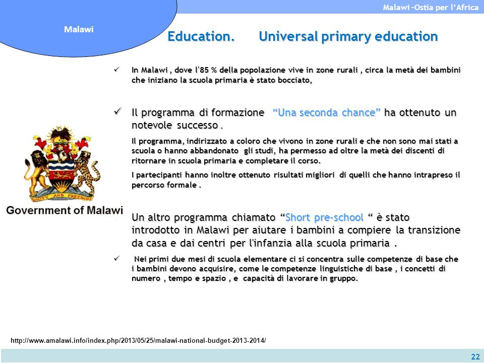 Education. Universal primary education