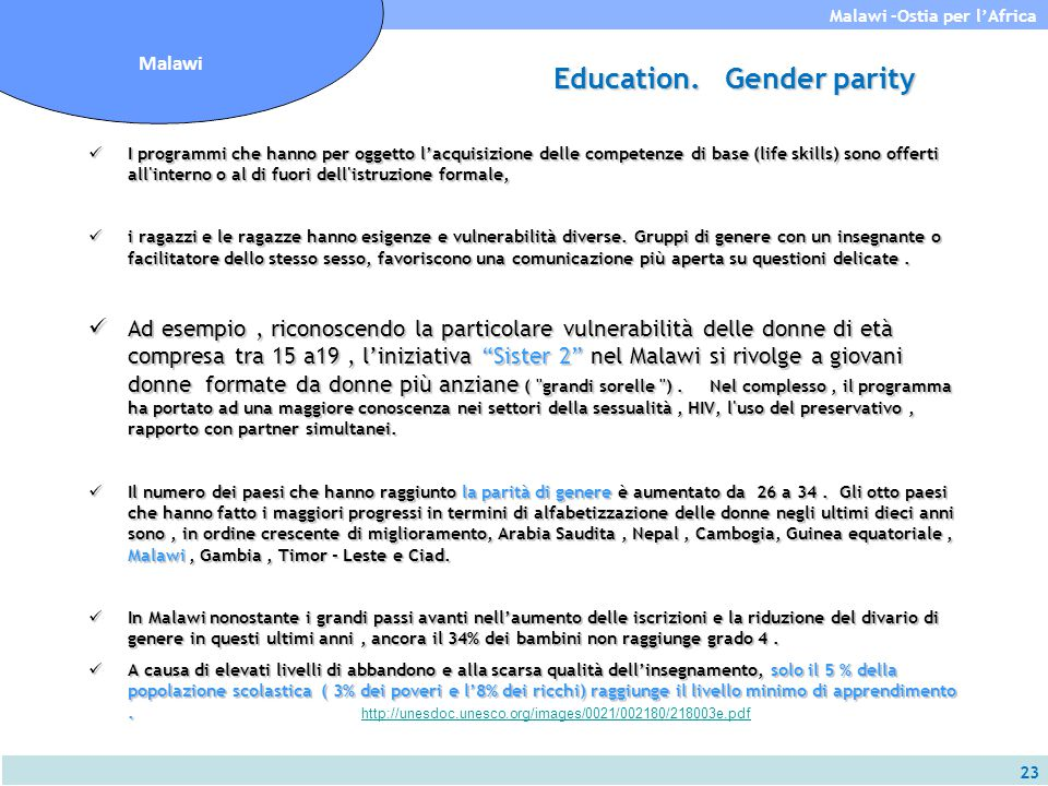 Education. Gender parity