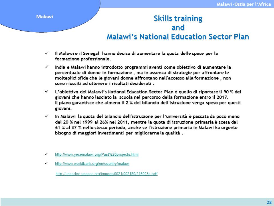 Skills training and Malawi's National Education Sector Plan