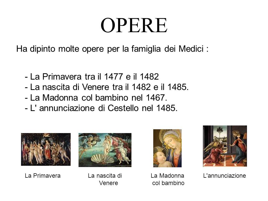 OPERE Ha dipinto molte opere per la famiglia dei Medici :