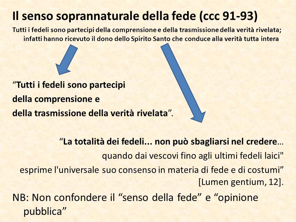 Il senso soprannaturale della fede (ccc 91-93)