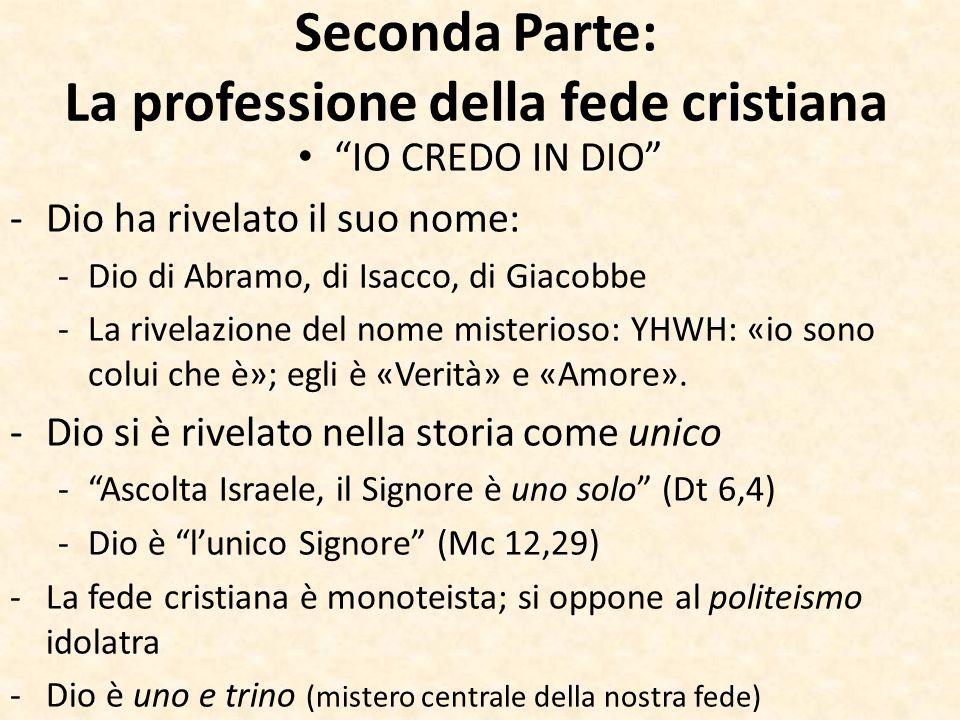 Seconda Parte: La professione della fede cristiana