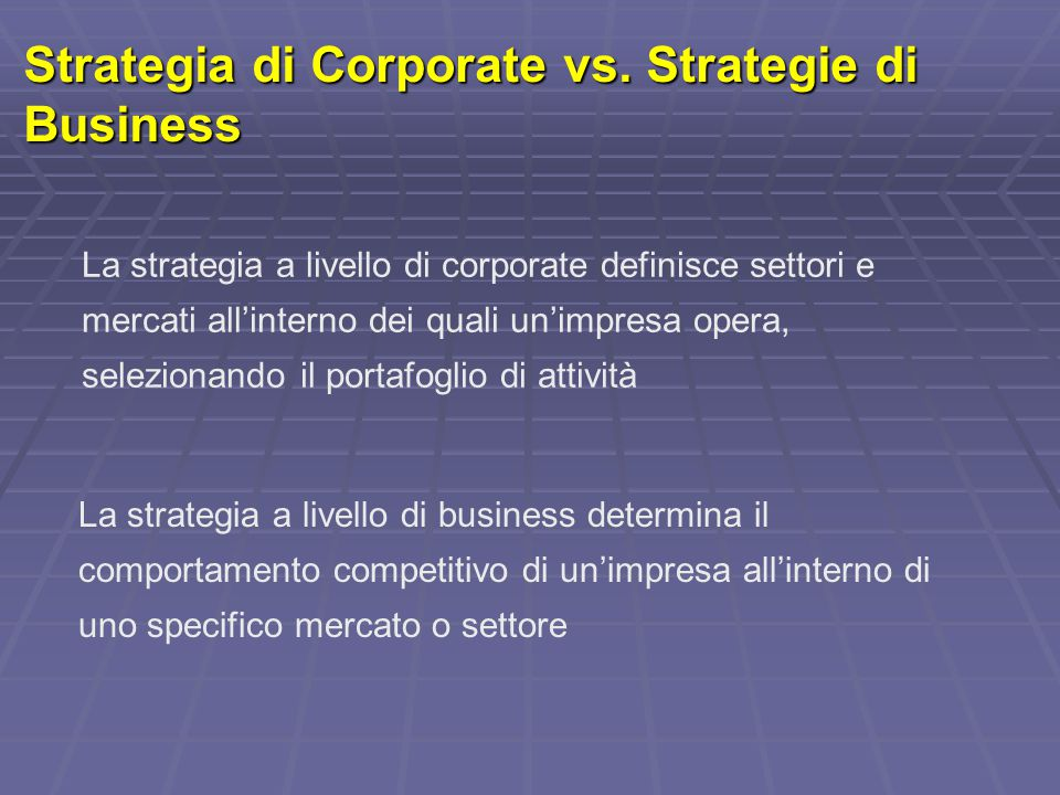 Strategia di Corporate vs. Strategie di Business